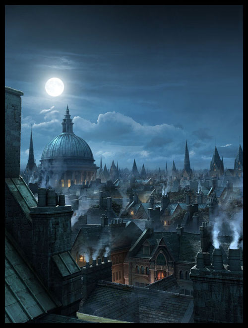 London Rooftops Digital Painting Landscape