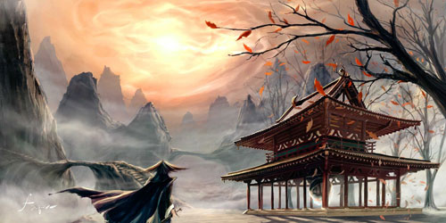Temple of the Sun Digital Painting Landscape
