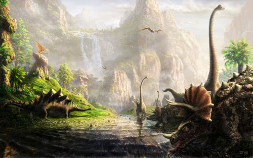 The land of dinosaurs Digital Painting Landscape