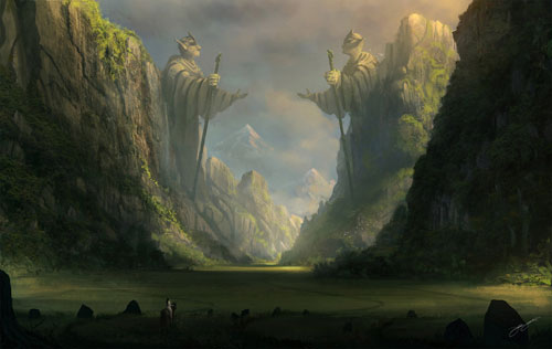 Through the ancient valley Digital Painting Landscape