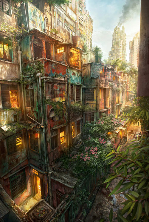 Urban Jungle Digital Painting Landscape