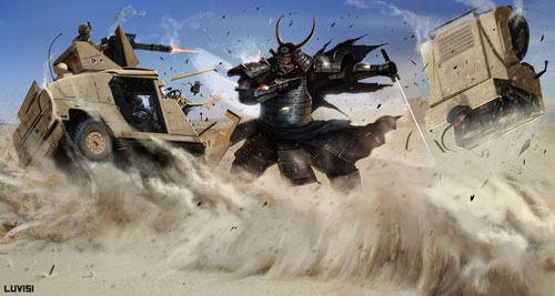 SAMURAI VS A HUMVEE Drawing Illustration