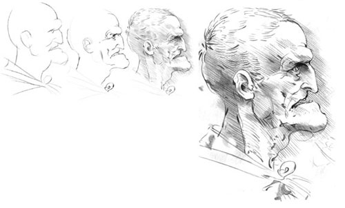Study of Old Man's Face in Profile tutorial