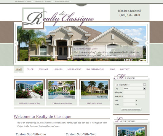 Realty de'Classique eCommerce WordPress Theme