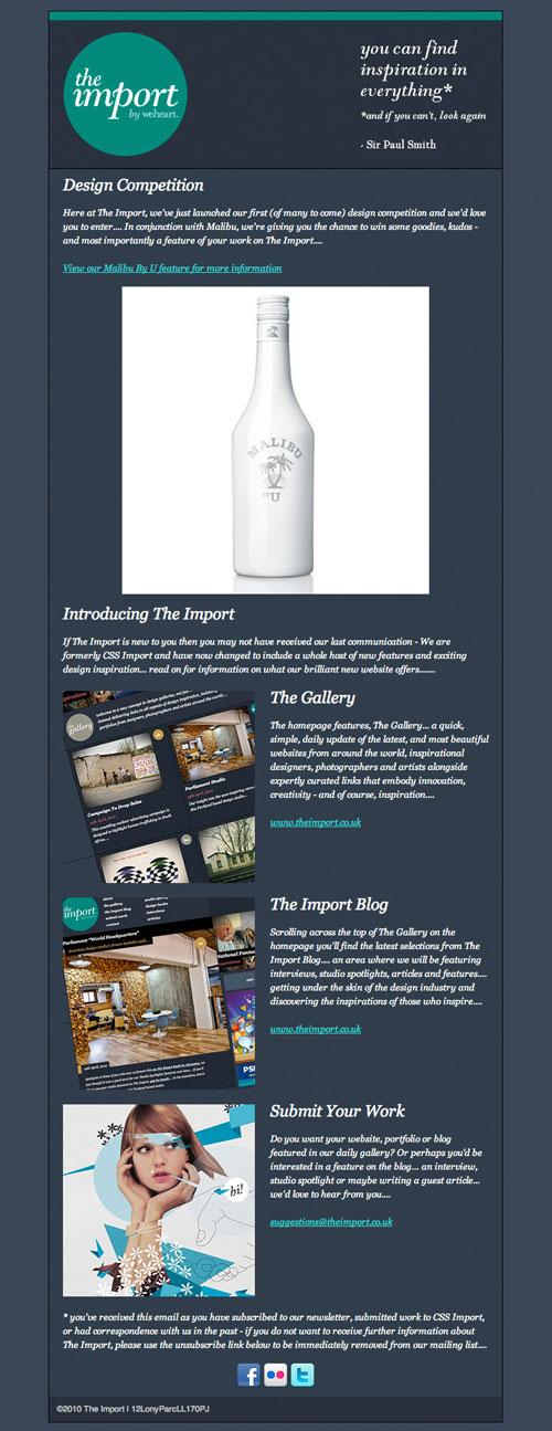 Creating html emails how to and design inspiration for Newsletter design inspiration