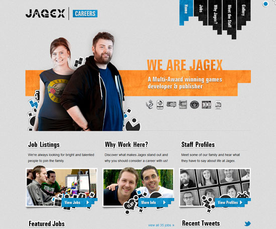 jagex.com Website Design Inspiration