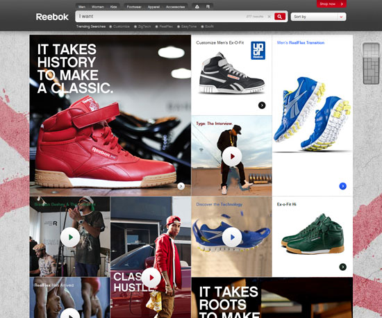 reebok.com Website Design Inspiration