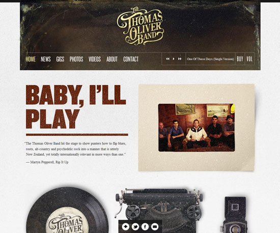 thethomasoliverband.com Website Design Inspiration