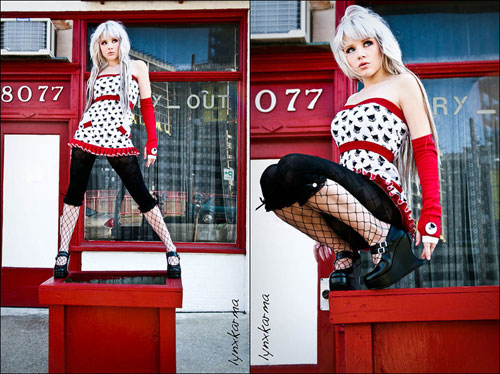 Red Black Kitty Cat Fashion Photography