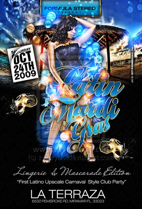 Latin Mardi Gras flyer Party