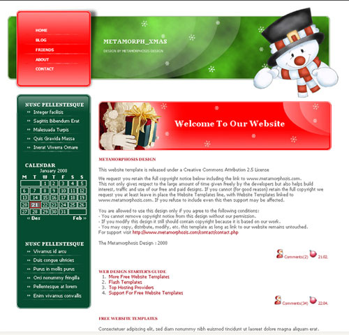 CSS Website Template – metamorph_xmas