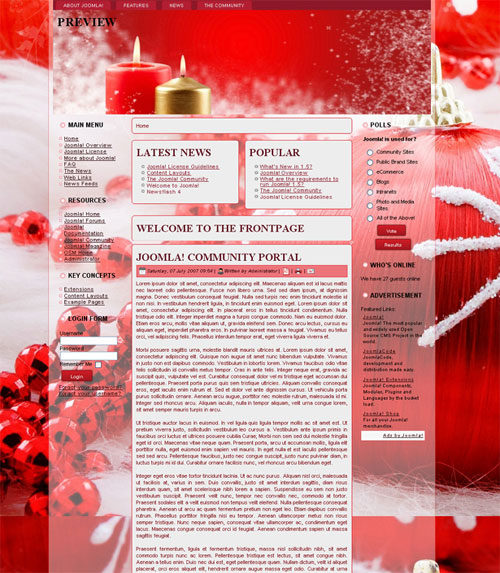 free joomla template - Christmas Red