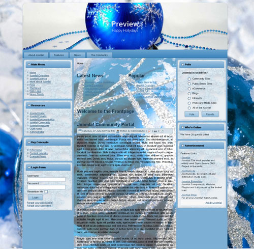 free joomla template - Cristmas decoration