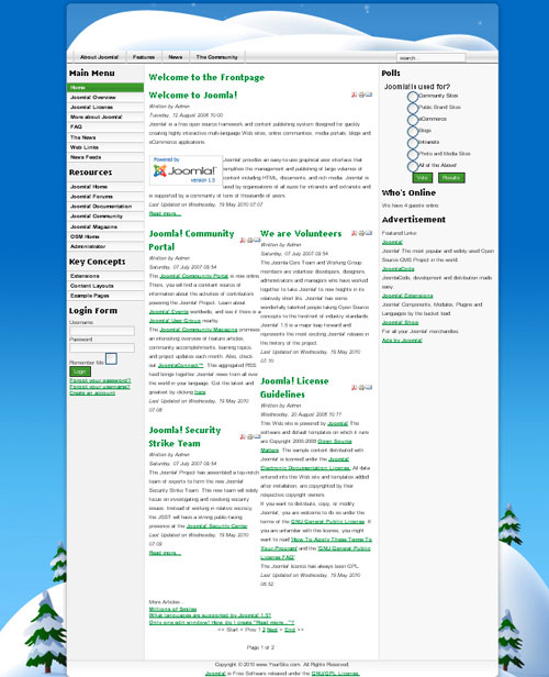 free joomla template - JB Christmas Snow
