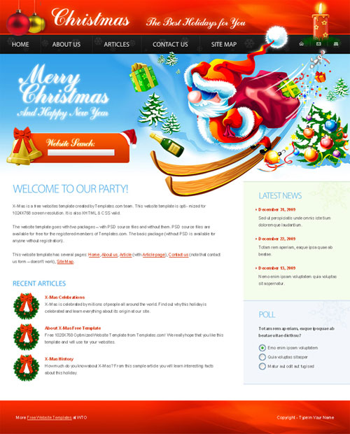 free website template - merry christmas