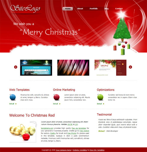 free website template - templatemo christmas red