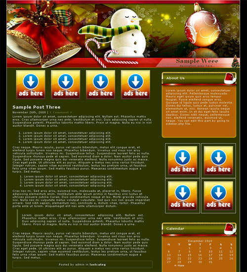 free wordpress theme - Christmas Holiday 2