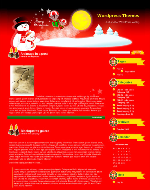 free wordpress theme - Christmasland