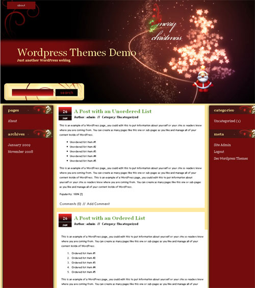 free wordpress theme - Merry Christmas