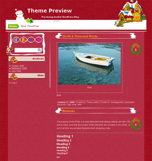 free wordpress theme - Red Christmas