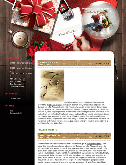 free wordpress theme - Xmas Desktop 1.0