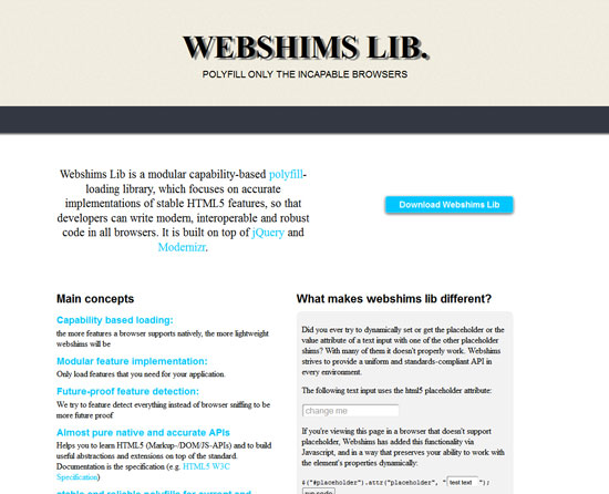 Webshims Lib Tool for web designers and web developers
