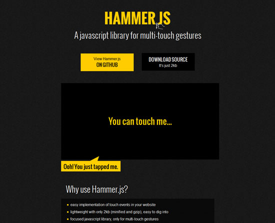 Hammer.js Tool for web designers and web developers
