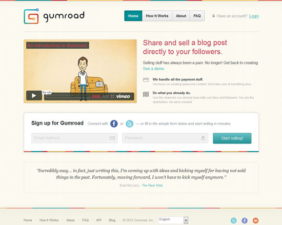 gumroad Tool for web designers and web developers