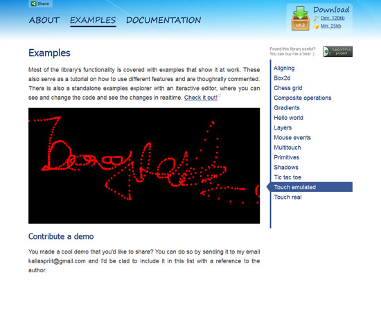 HTML Canvas Javascript Library Tool for web designers and web developers