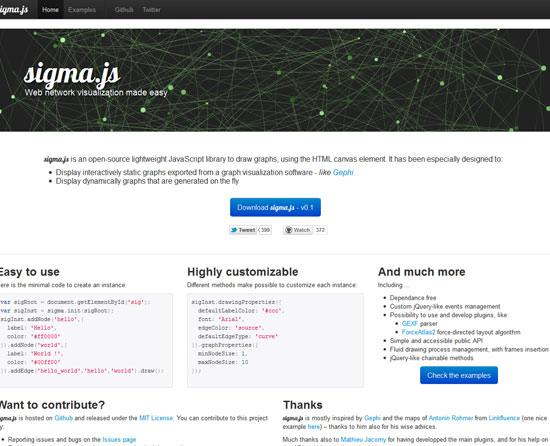 sigma.js Tool for web designers and web developers