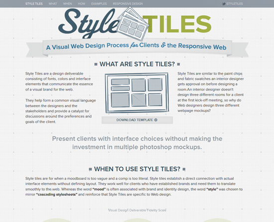Style Tiles Tool for web designers and web developers