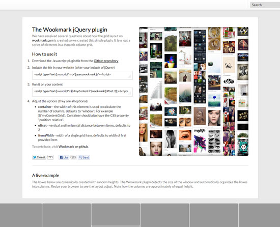 The Wookmark jQuery plugin Tool for web designers and web developers
