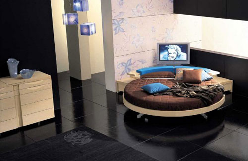 Modern Leather Round Beds by Prealpi