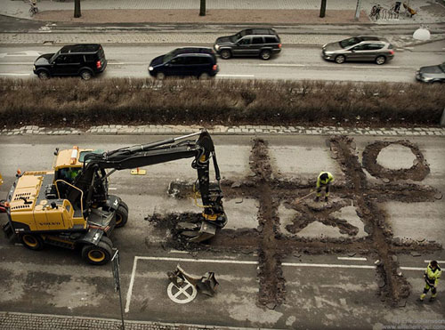 Road workers' Coffee Break Photo Manipulation