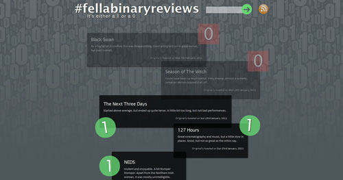 fellabinaryreviews.com HTML5 and CSS 3 inspiration showcase site