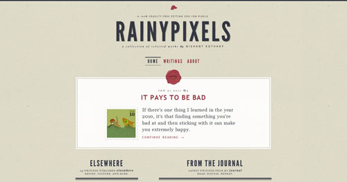 rainypixels.com HTML5 and CSS 3 inspiration showcase site