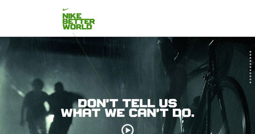 nikebetterworld.com HTML5 and CSS 3 inspiration showcase site