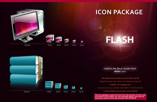 Flash Live System Iconpackager skin