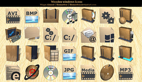 Wooden Iconpackager skin