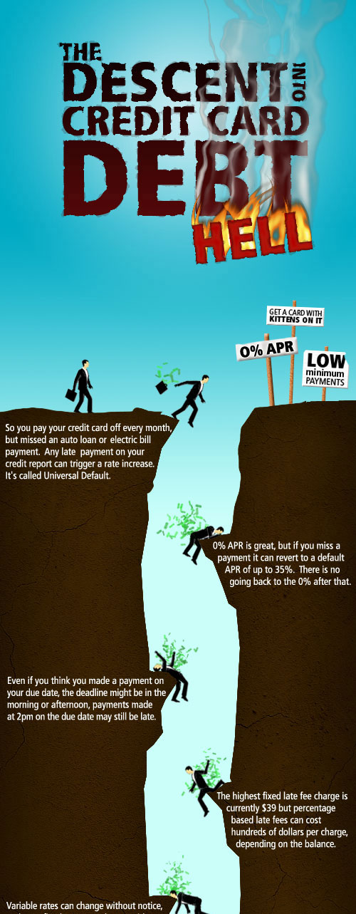 The Descent into Credit Card Debt well designed infographic