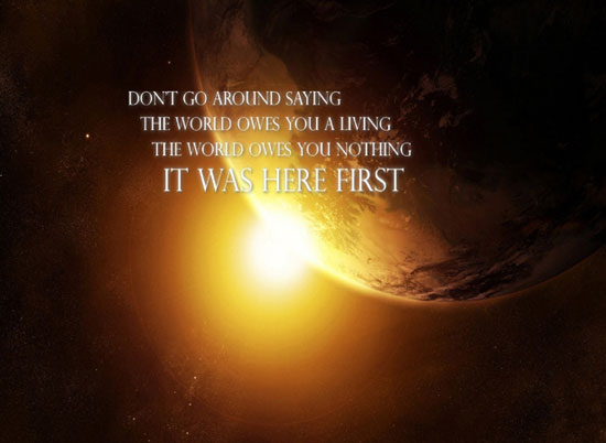 WORLD OWES YOU NOTHING wallpaper