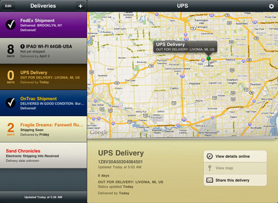 Delivery Status touch iPad Design