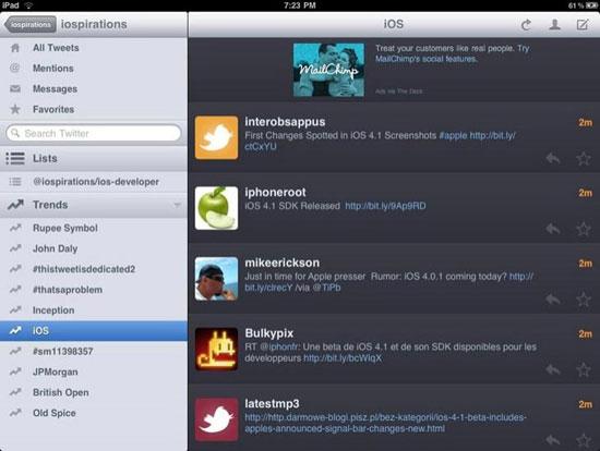 Twitterrific iPad Design