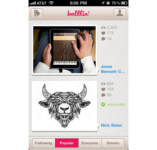 Ballin iPhone App Design Inspiration