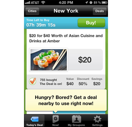 Groupon iPhone App Design Inspiration
