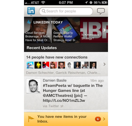 LinkedIN iPhone App Design Inspiration