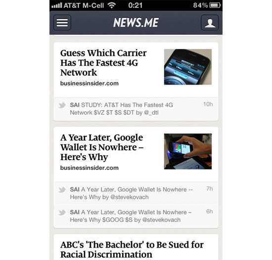 News.Me iPhone App Design Inspiration