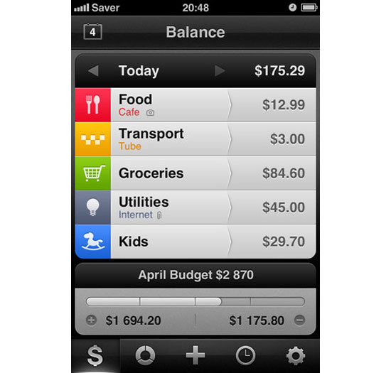 Saver iPhone App Design Inspiration