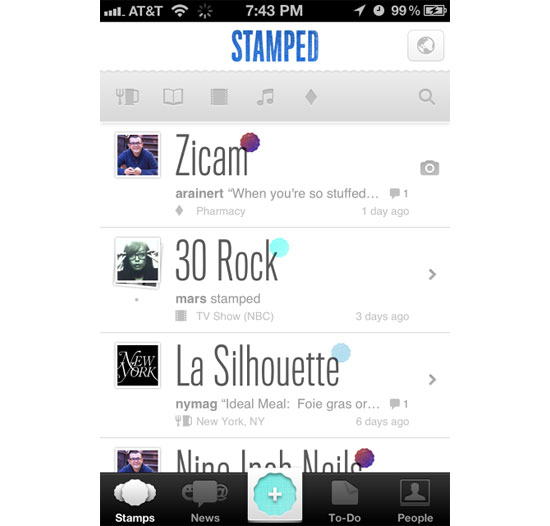 Stamped iPhone App Design Inspiration