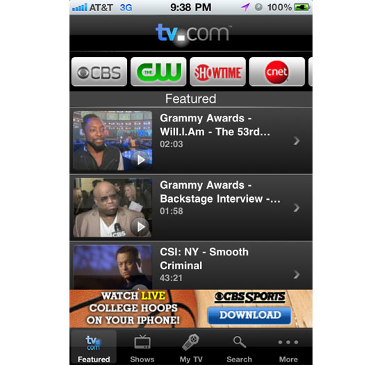 TV Now iPhone App Design Inspiration